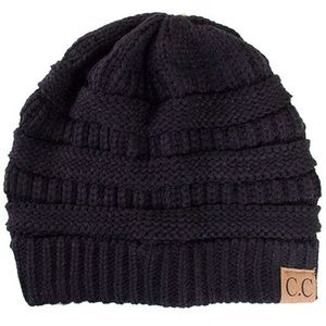 C.C Cable Knit Solid Beanie-HAT-20A_BLACK